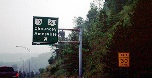 Point the way to my boy.  The locals in that part of Ohio pronouce it Chancey (no U).  If you interpret the picture literally, you and I know the sign is right.  (2002)