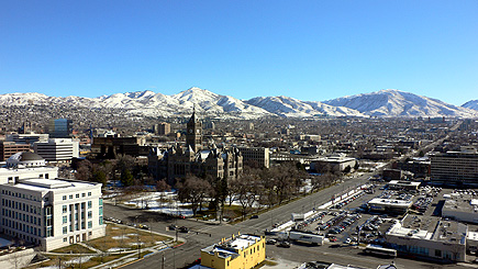 Daytime view from our hotel room in SLC.  (2006)