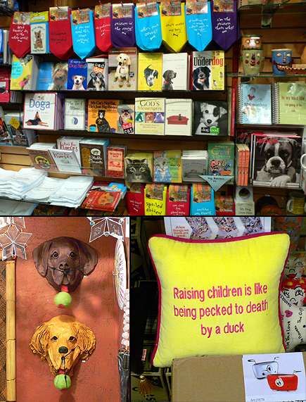 Collage of images from a shop whose name I really should be able to remember so I can tell you.  But I can't.  Somewhere near the top of the hill on Main Street in Park City, Utah.  Click below for large image of just the wall of dog stuff.  (2006)