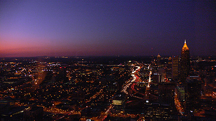 The view at night from room 6804 at the Westin Peachtree just as the sun is setting.