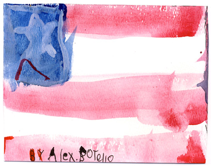 An early Alex watercolor masterpiece  From his Patriotic Period.  Created for his father, Ray.  (2007)