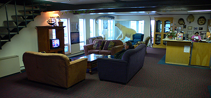 The hotel lobby at the Top of the World hotel in Barrow, Alaska.  (2007)