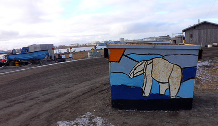 A beautifully decorated dumpster in Barrow, Alaska.  (2007)