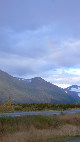 Barely visible rainbow somewhere between Anchorage and Seward.  (2007)
