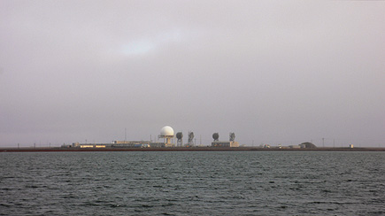 The United States Air Force Long Range Radar Site in Barrow, Alaska.  From across the water on our way back from Point Barrow.  (2007)