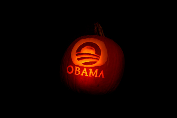 "Discovered in my e-mail.  Caption read ""Check out Nate's Barack-o-lantern!""  No, I don't know who Nate is.  (2008)"