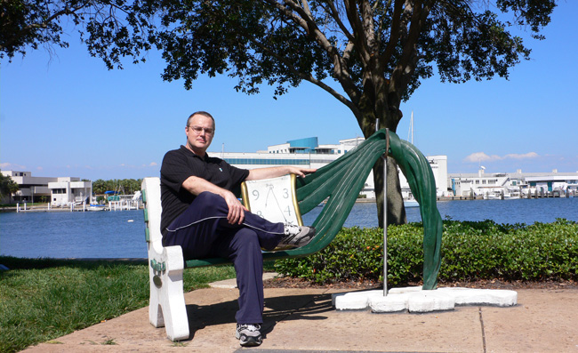 Yours truly sitting on the whacky bench outside the Dali Museum in St. Petersburg, Florida.  Candy took the pic.  (2009)