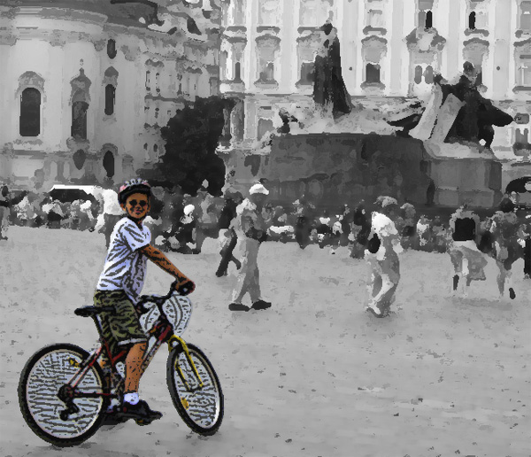 Alex bike riding in Prague.  Processed with Dry Brush filter in background and then desaturated, then Poster Edges on his cut-out with big boost in saturation.  (2009)